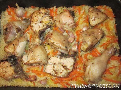 Курица с рисом в духовке4