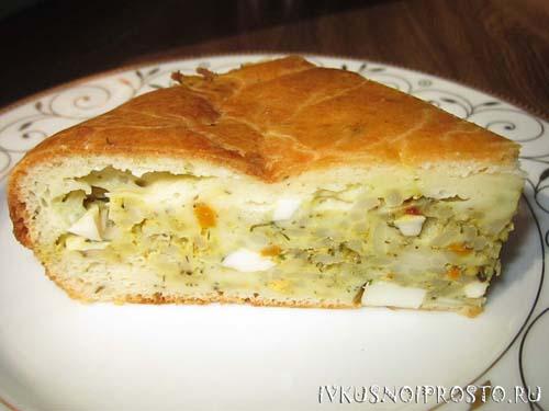 Заливной пирог с капустой пошаговый рецепт с фото