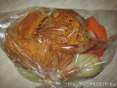 Курица в рукаве в духовке3
