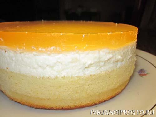 Бисквитный торт с желе7