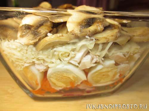 Салат с курицей и шампиньонами