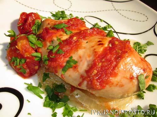 Помидоры с заливным из куриной грудки - рецепт пошаговый с фото