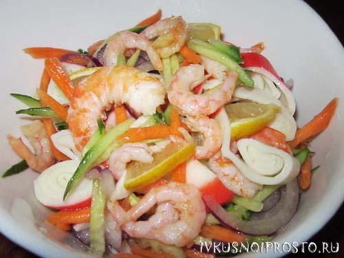 рецепт салат с креветками и крабовыми палочками