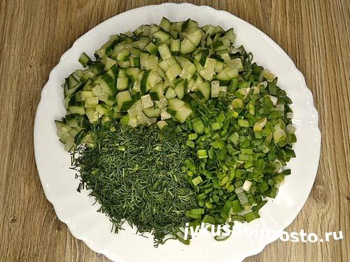 Салат с огурцом и яйцом3