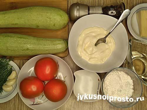 Кабачки с помидорами и чесноком1